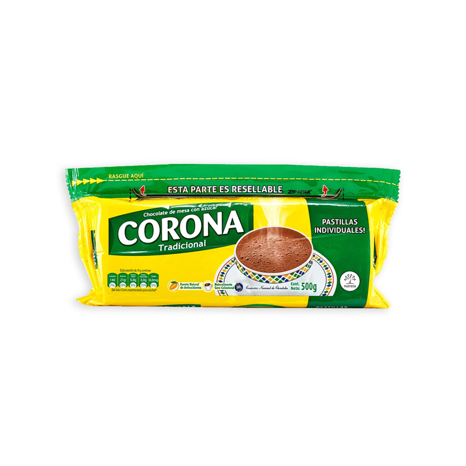 Chocolate De Mesa Corona Tradicional Con Azúcar